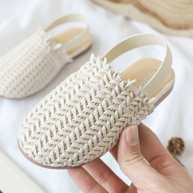 Summer Kids Sandals For girls Braided Sandals Fashion Toddler baby PU Leather Beach shoes Soft Children Casual princess Slippers H0917
