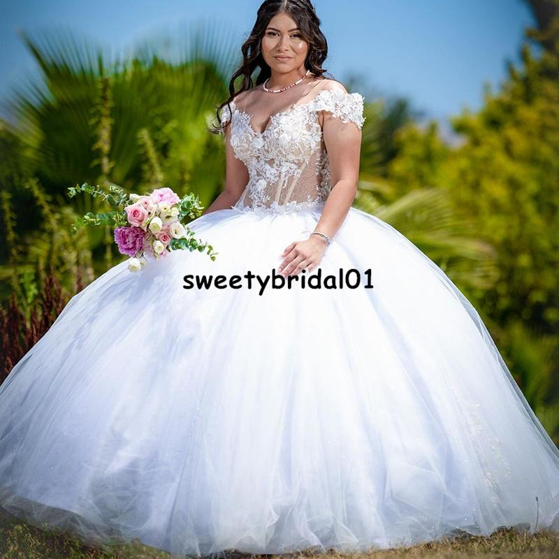 White Mexican Quinceanera Dress 2022 Off Shoulder Appliques Exposed Boning vestidos de 15 años Girl Prom Party Gowns