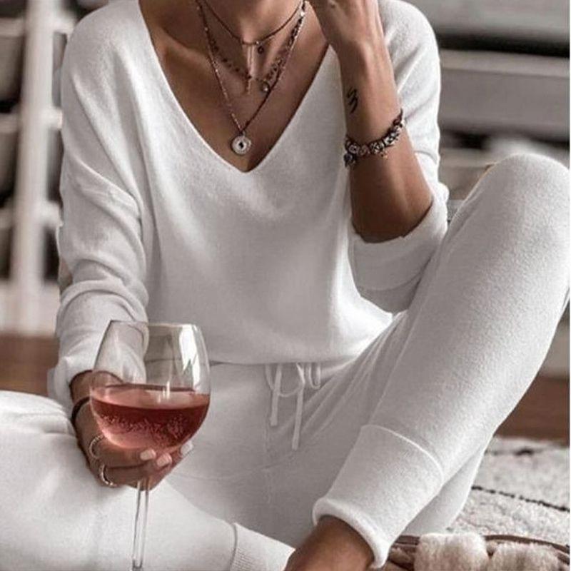 Женская сплошная V-образная выречка Pajamas Set Star Print с длинным рукавом Top + DrawString Длинные брюки Домашняя Одежда Женская Весна Повседневная Пижама 210326
