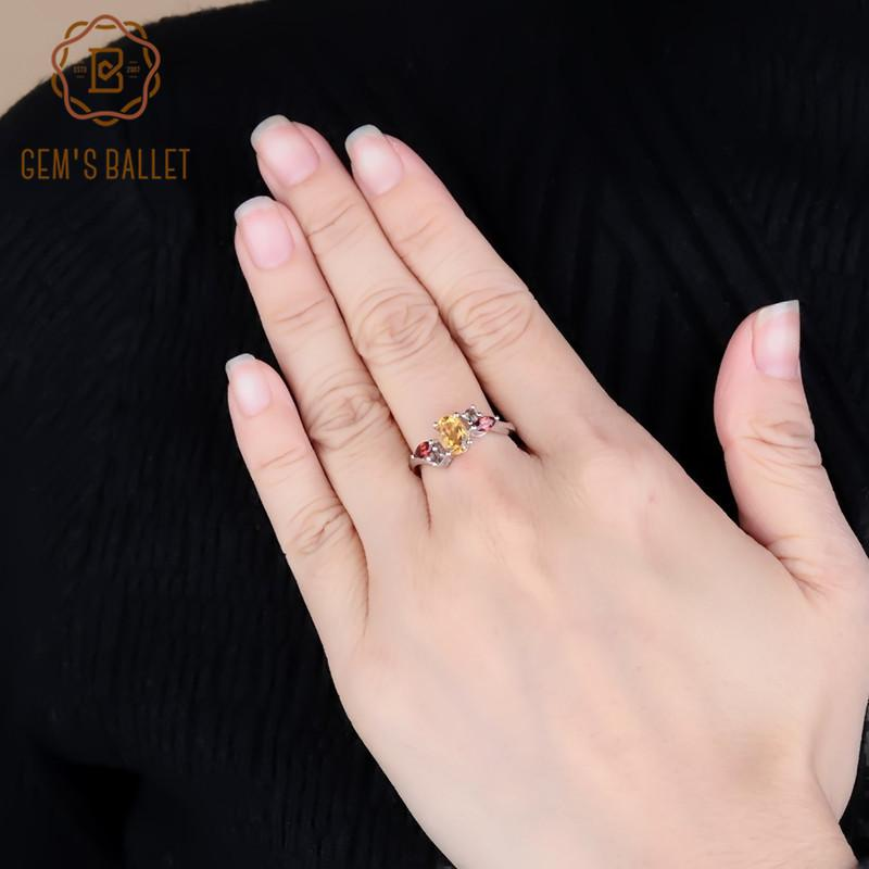Ballet de la gema del anillo de la moda 0.82ct Natural Citrine Garnet Smoky Quartz Piedra de piedras preciosas para las mujeres Boda 925 STERLING SILLA FINE JOYERY RANS N1