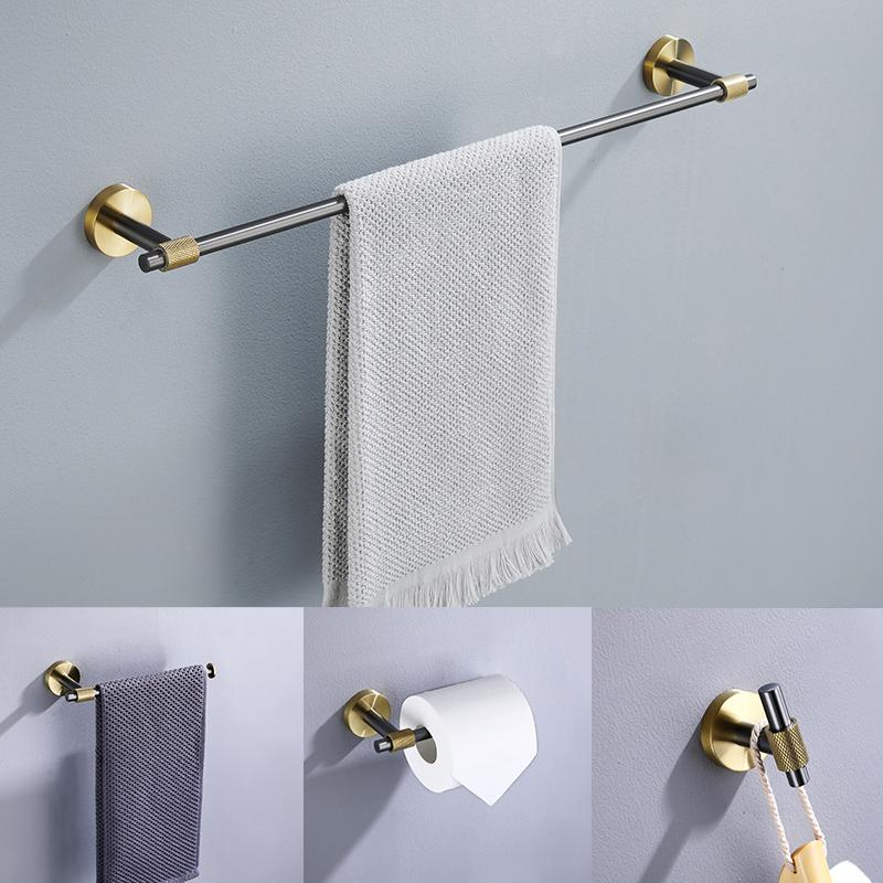 Wholesale Bathroom Accessories 4pcs Set Gun metal brush Wall Mounted SUS 304 Stainless Steel Toilet Paper Holder, Towel Bar/Ring, Robe Hook
