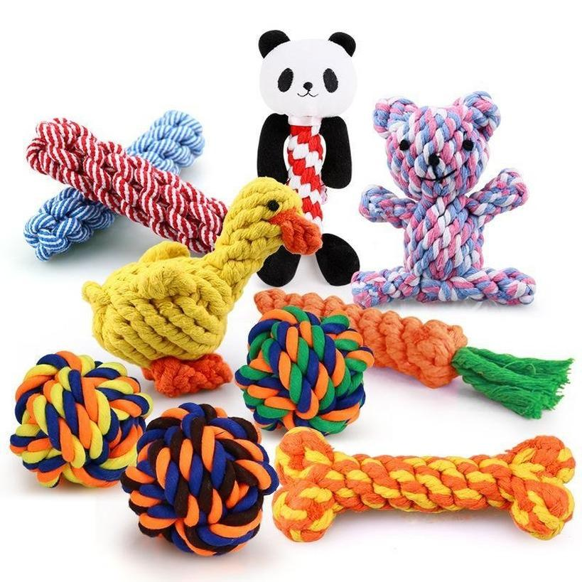 Mixed designs Bite Resistant Pet Dog Chew Toys for Small Dogs Cleaning Teeth Puppy Dog Rope Knot Ball Toy Playing Animals Dogs Toys Pets CM28