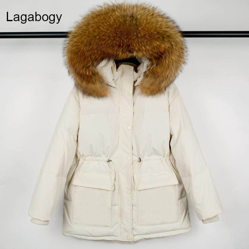 Lagabogia 2021 Winter White Duck Down Parkas Grosso Quente casaco solto Feminino Hooded Enorme Real Raccoon Collar Peles impermeável Jacke Mulheres