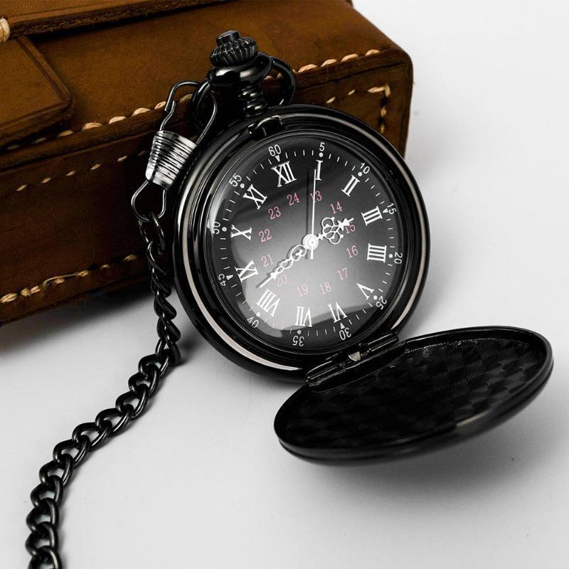 Moda 37cm Cadena FOB de acero liso Reloj de bolsillo de cuarzo vintage Relojes de entrega rápida