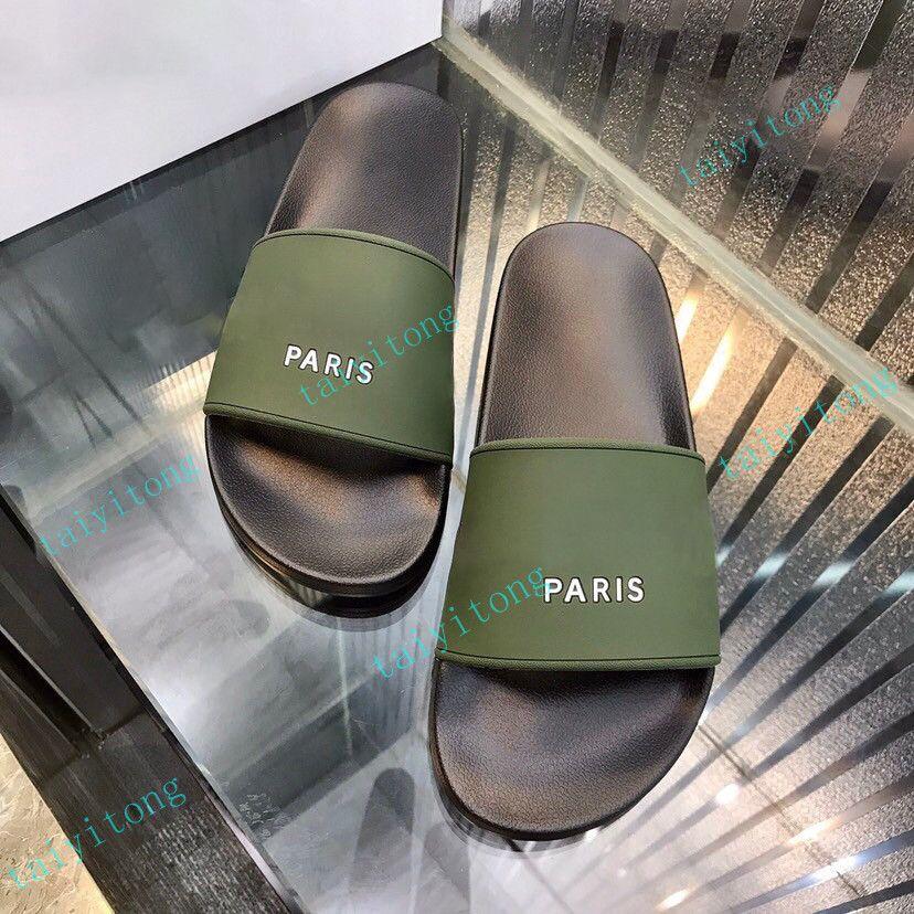 Sandálias de alta qualidade Paris Mulheres Chinelos Mens Sport Sport Slides Conforto Casual Moda Sapatos Indoor Grande com Box Shoe35-45