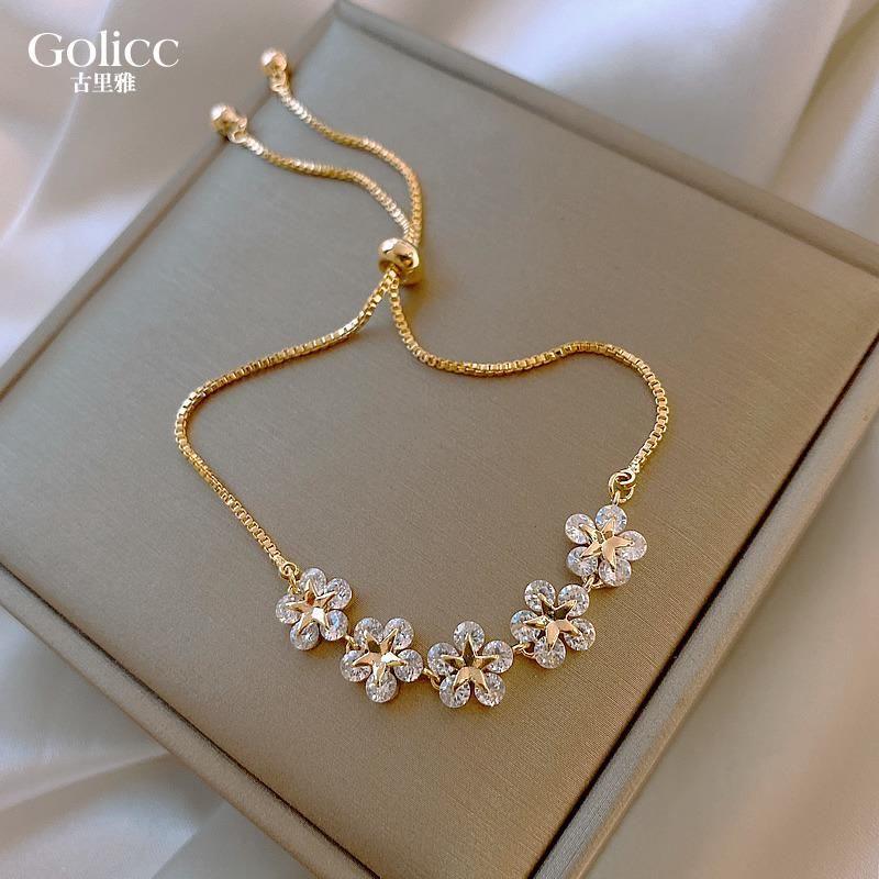 Projeto coreano moda jóias pulseiras de alta-fim flor zircão ajustável Feminino Feminino Festa Pulseira Charme