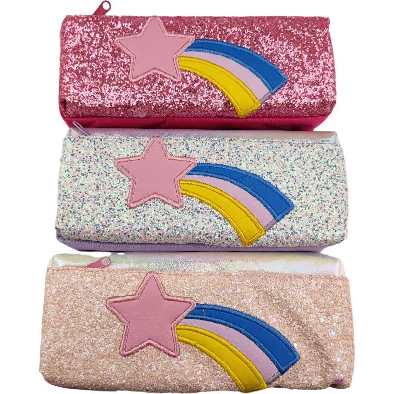 Многофункциональный мешок для хранения Blitter Glitter Rainbow Case Case Большая емкость 2 сетки Прочная молния Канцтовары для мальчиков и девочек школьников