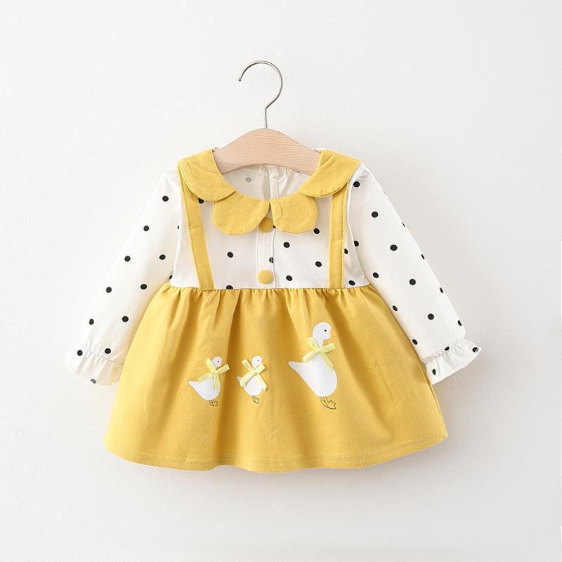 Vestidos de niñas niñas de manga larga de la manga de dibujos animados de dibujos animados bebé niña vestido de niño nacido lindo primavera y princesa otoño 0-3 años