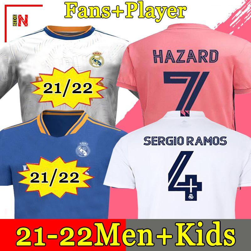 REAL MADRID 유니폼 20 21 축구 유니폼 HAZARD SERGIO RAMOS BENZEMA VINICIUS camiseta 축구 셔츠 유니폼 남성 + 키즈 키트 2020 2021 .