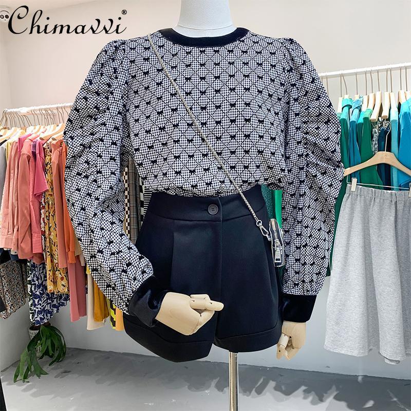 Blusas femininas Camisas 2021 Outono Redondo Pescoço Preto Casual Mulheres Soltar Sleeve Sleeves Bow Feminino Manta Coreano Camisa Top