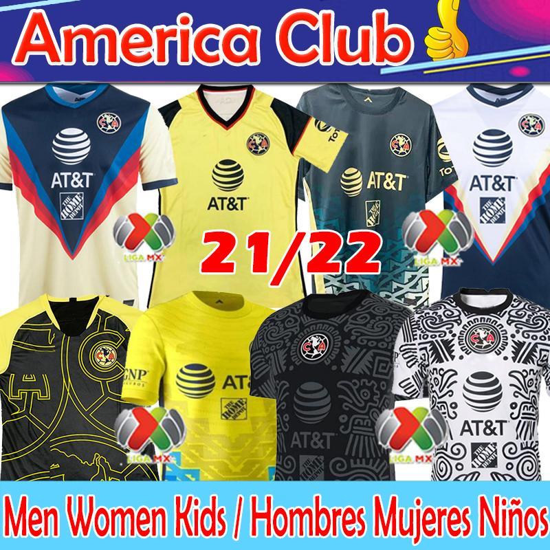 21/22 Club América Futebol Jersey Liga MX 2021 Giovani Henry Martinez Ochoa Camisas de Futebol Homens + Mulheres + Kids Kits Camisas de futebol