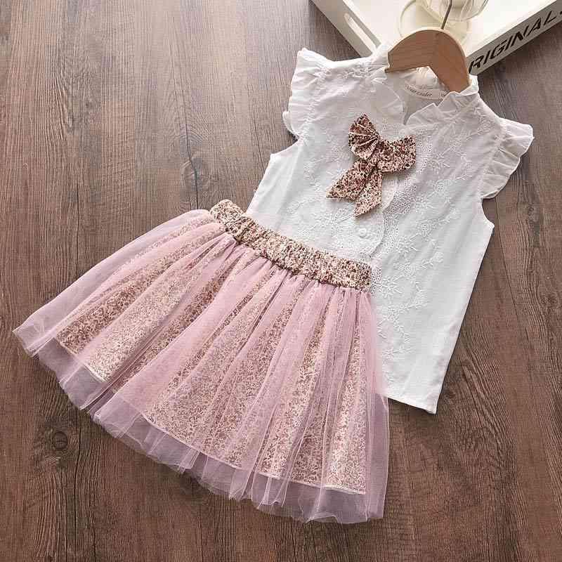 Bärleiter Kinder Sets Neue Sommer Kinder Mädchen Kleidung Casual T-Shirt und Blumenrock 2 stücke Mädchen Baby Kleidung Sets 3 7Y 210322