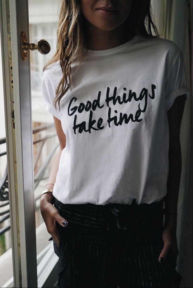 Womens Tops Gute Dinge Nehmen Sie Zeit inspirierend Grafik T-Shirt Sommer Mode Tumblr Gurnge White T-shirt Casual Outfits