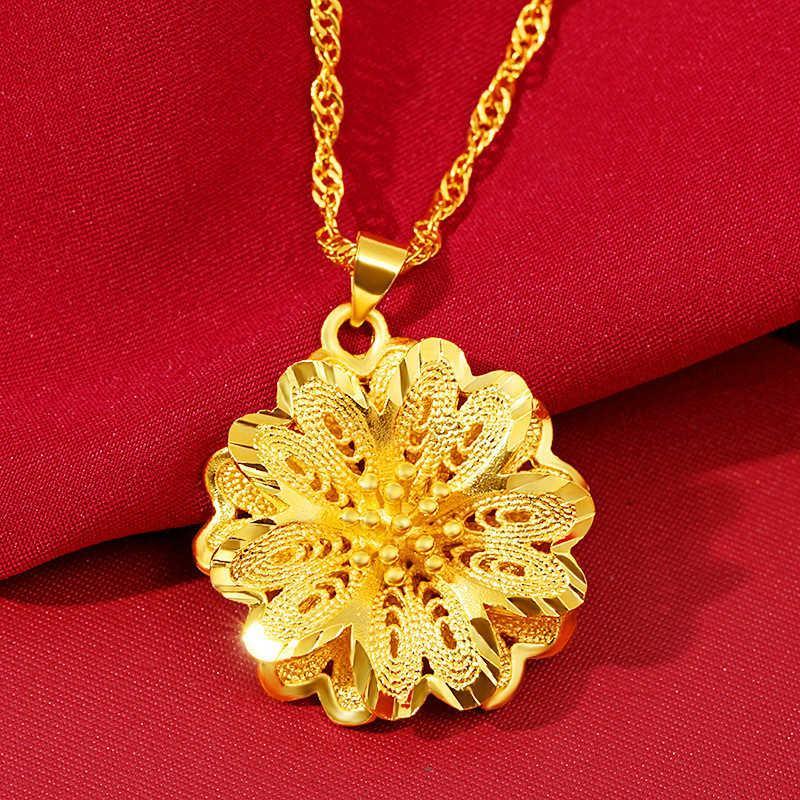 colar vietnam areia banhado a ouro 24k grande flor nelace pingente 3d disco rígido multilayer vácuo real