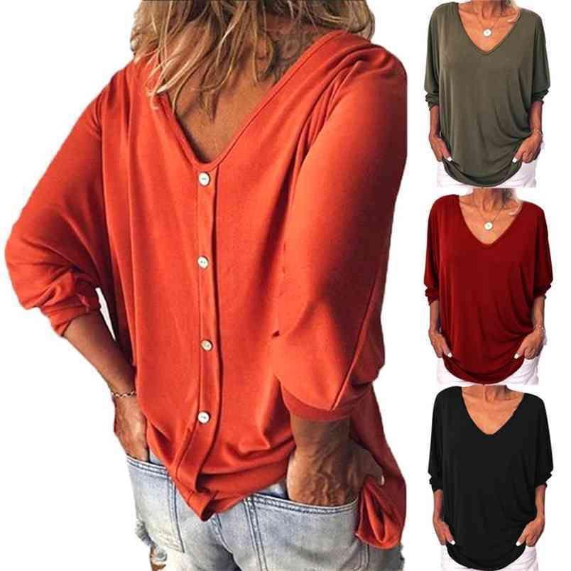 T-shirt da donna con scollo a V a maniche lunghe a maniche lunghe a maniche lunghe a maniche lunghe a maniche lunghe moda casual a forma di tunica elegante femminile