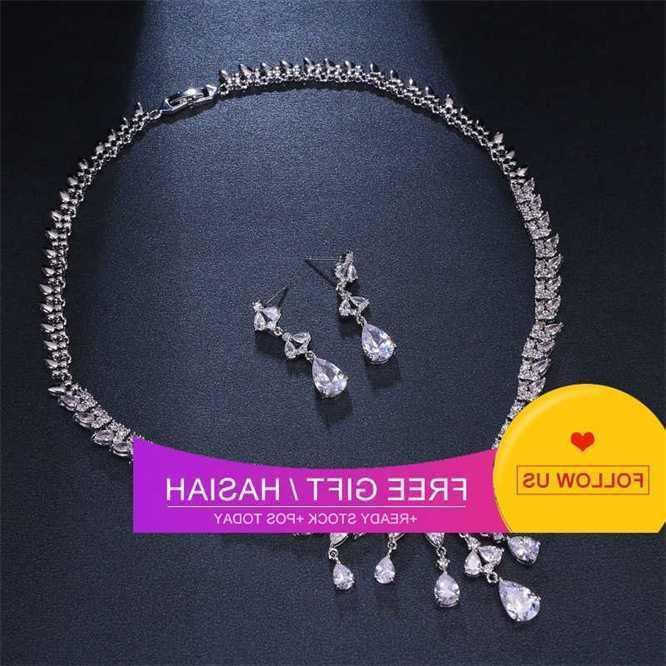 Fashion Crystal Zircon Conjunto Brincos Colar Dois Peça Acessórios De Vestido De Noiva