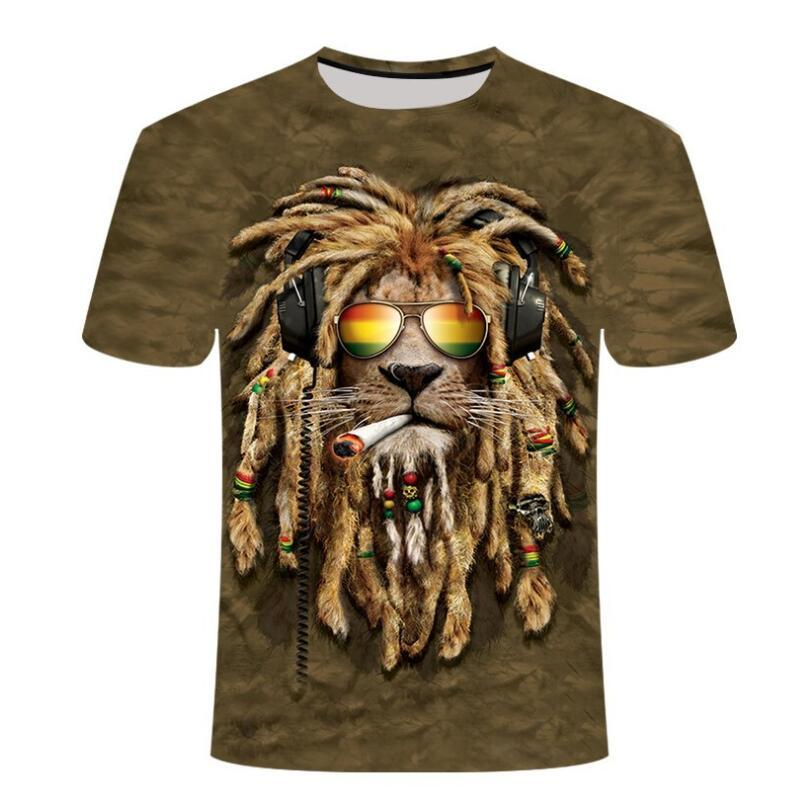 2020 NUEVO 3D Animal Funny 3D Lion King camiseta Hombre Verano Impresión Lion Top Top 3DT SHIRSSCERCER JERSEY