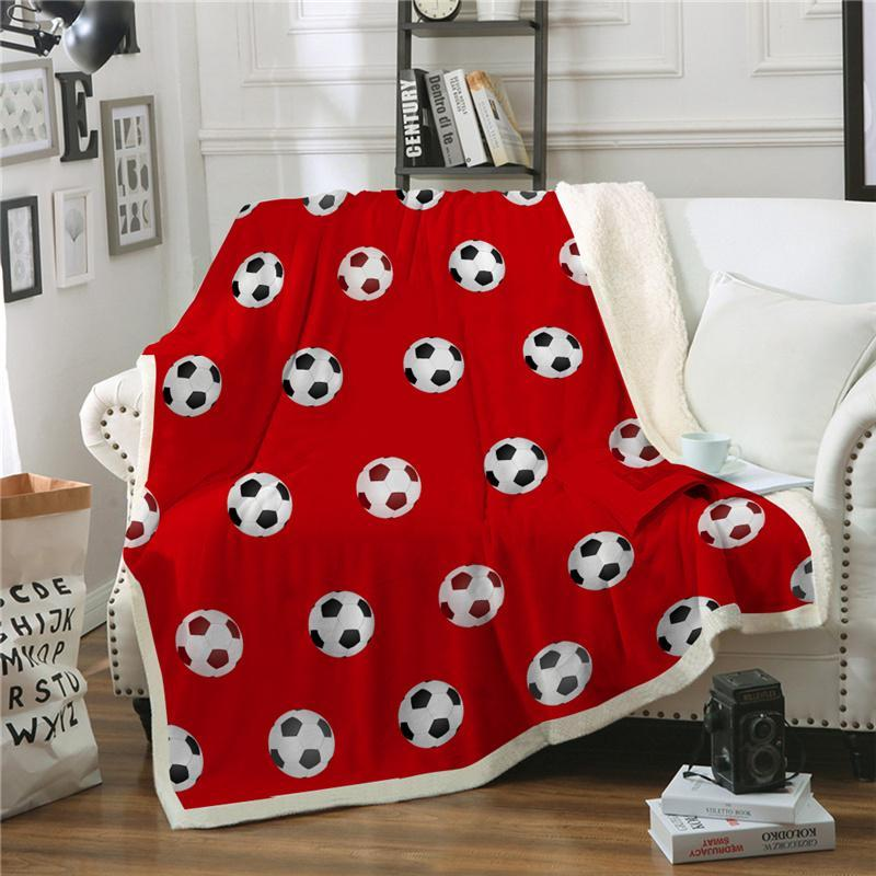 Throw Blanket Football Sport Game Red Blue Super Soft Warm Winter Bedspread Fleece For Children Adult Sofa Car Bed Cover Blankets