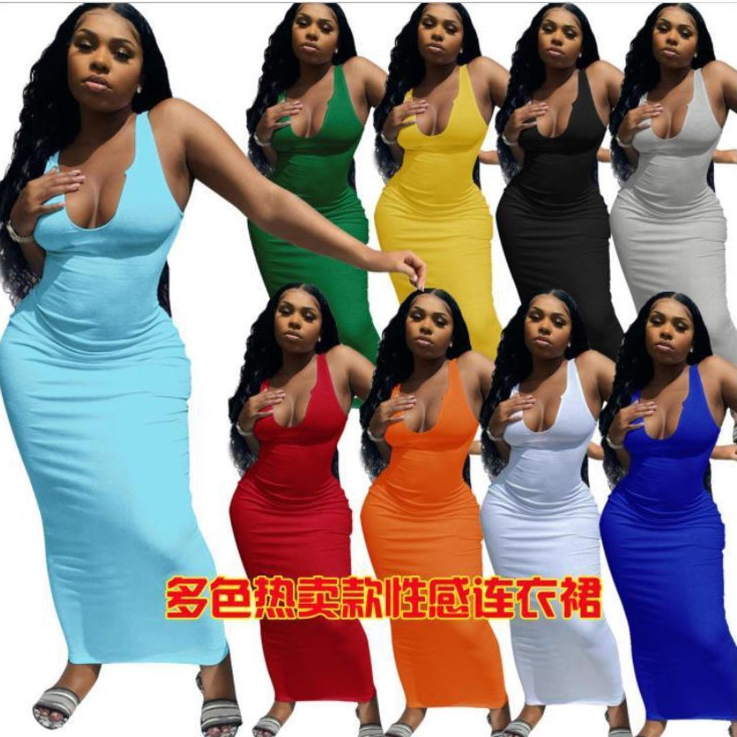 Frauen designer kleidung 2021 kleider tragen frühling und sommer suspender weste tiefe v-ausschnitt schlank sexy langes kleid frau modelle