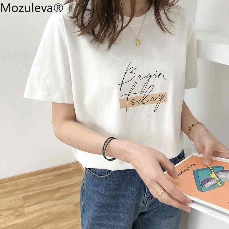 Mozuleva Casual O-Neck letra Impressão Mulheres T-shirt de Verão Manga Curta Solta Feminino Básico Tops Camisa Senhoras Tees 100% Algodão 210322