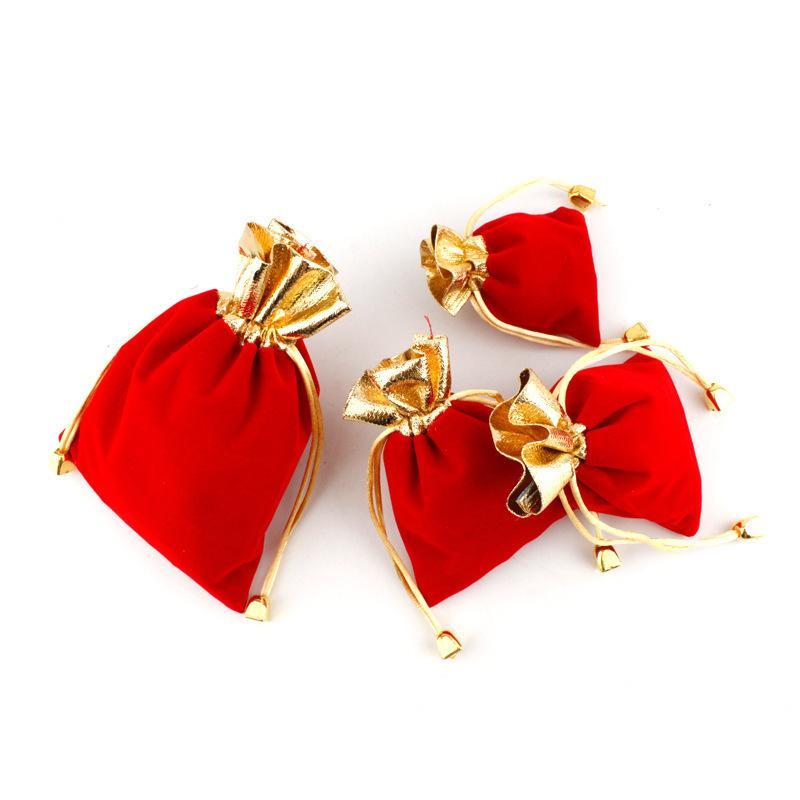 Quente vermelho 100 pçs / lote 7x9cm 9x12cm veludo frisado bolsas de cordão de jóias bolsa de presente cordão sacos para favores do casamento, grânulos 15 u2