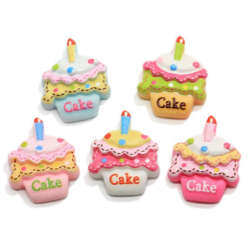 Dekoratif Nesneler Figürinler Sevimli Dollhouse Doğum Günü Pastası Reçine Düz Geri Cabochons Telefon Kılıfı DIY Scrapbooking Craft Accessori