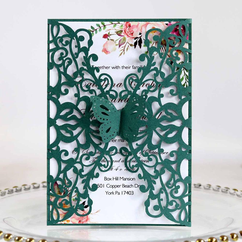 Green Butterfly Wedding Invitations 20 + Color Tarjetas de felicitación imprimibles para quinceañera Sweet Sixteen XV Fiesta de cumpleaños Invita