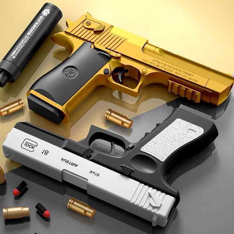 Shell lanzando el desierto Eagle Soft puede lanzar el pistola de juguete y la bala debajo del modelo de pistola de simulación de combate al aire libre del niño
