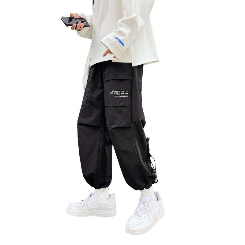 남자 바지 블랙 조깅 남자 편안한 바지 여름 캐주얼 스트리트웨어 느슨한 바지 일본 트렌디 한 스웨트 팬츠
