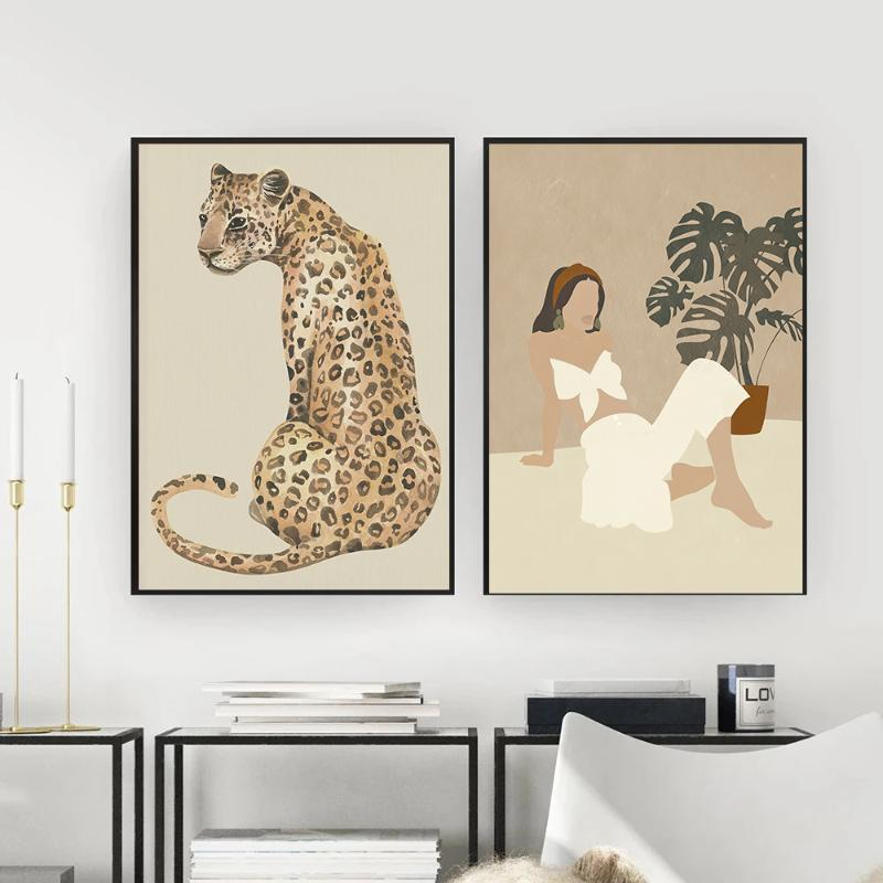 Boho Woman Cheetah Posters And Prints Canvas Painting Leopard Animal Wall Art Picture For Living Room Nordic Style Home Decor Paintings