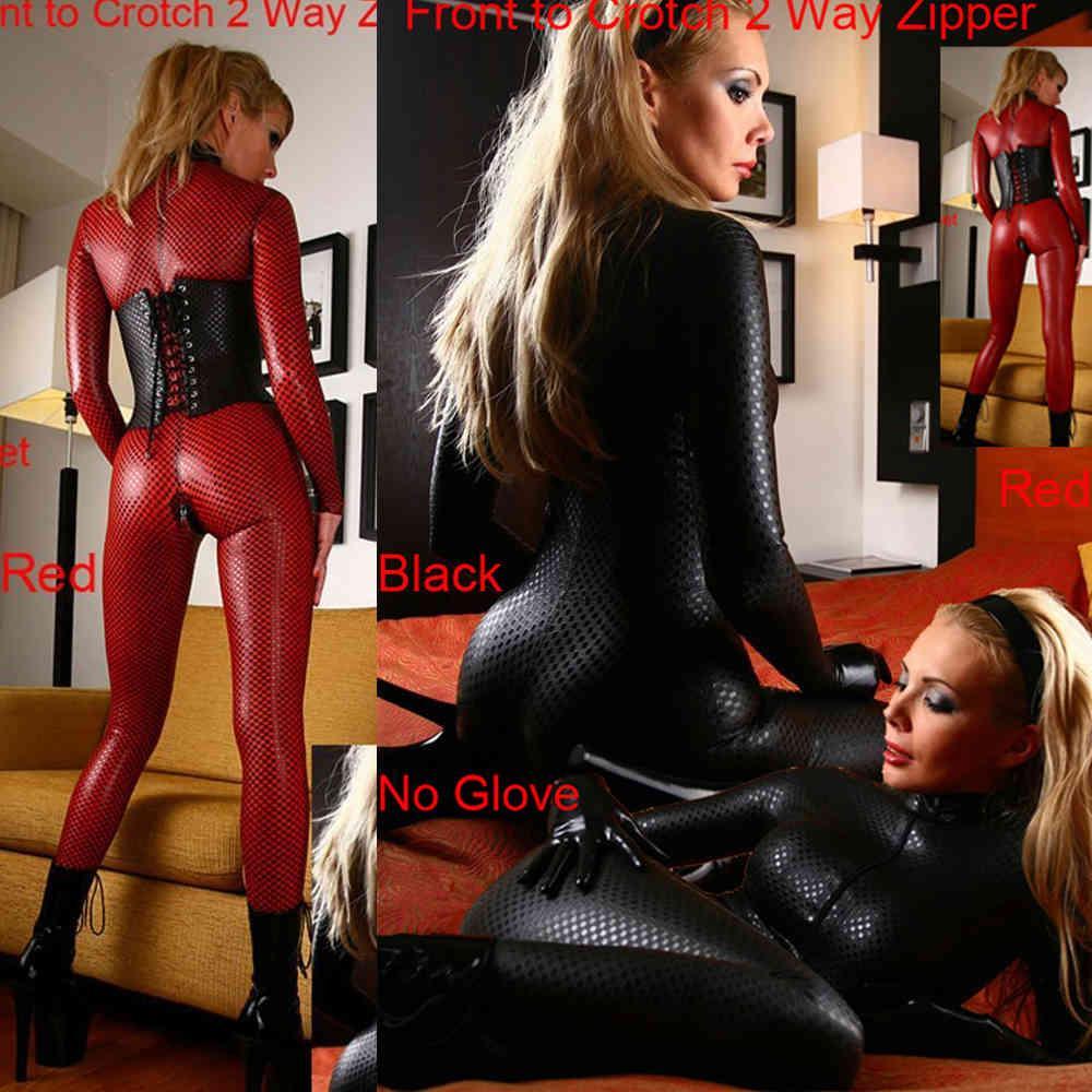 Faux Leather Double Way Zipper Sexy Latex Catsuit ClubWear Erotic Jumpsuit Lingerie Bondage Bodysuit Night Club Dance Wear K89