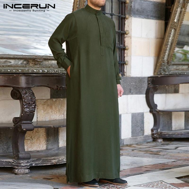 패션 이슬람 의류 Therobe Jubba Mens Robe Long Sleeve 사우디 아랍 Thobe Kaftan Ropa Arabe 이슬람 드레스 Robe1