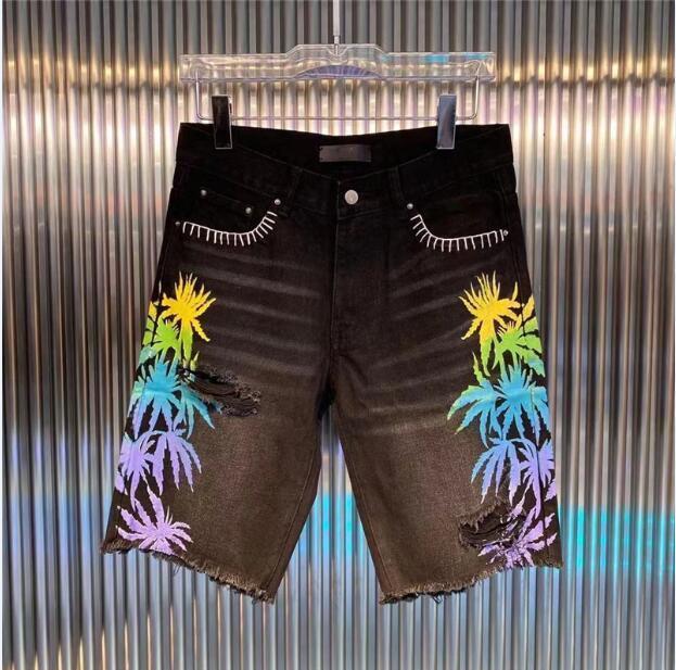 Мужские короткие моды прямые дыры джинсовые джинсы повседневные шорты черные синие летние мужчины хип-хоп брюки DW7082