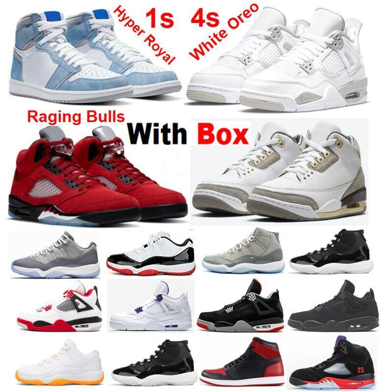 Sapatos de Basquete 4s Branco Oreo Oreeo atacado Obsidian 13s 2021 IG Enviar Red Space Jam 11 Concord Sneakers Homens Mulheres com Caixa 5 Raging Bull Hyper Real 1 Criado