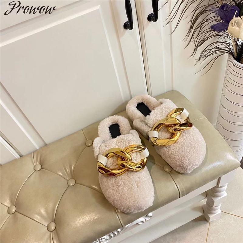 Prowow Kuzu Yün Terlik Altın Zincir Dekor Kürk Ayakkabı Kadınlar Trendy Moda Marka Slaytlar Siyah Beyaz Katırlar Kış