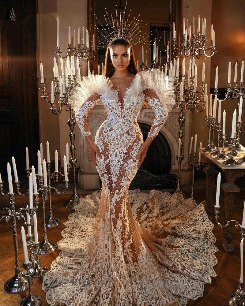 Sexy Pearls Applique Mermaid Wedding Gown 2021 Arabic Full Lace Appliques Long Sleeves Plus Size Bridal Party Gowns robe de mariee