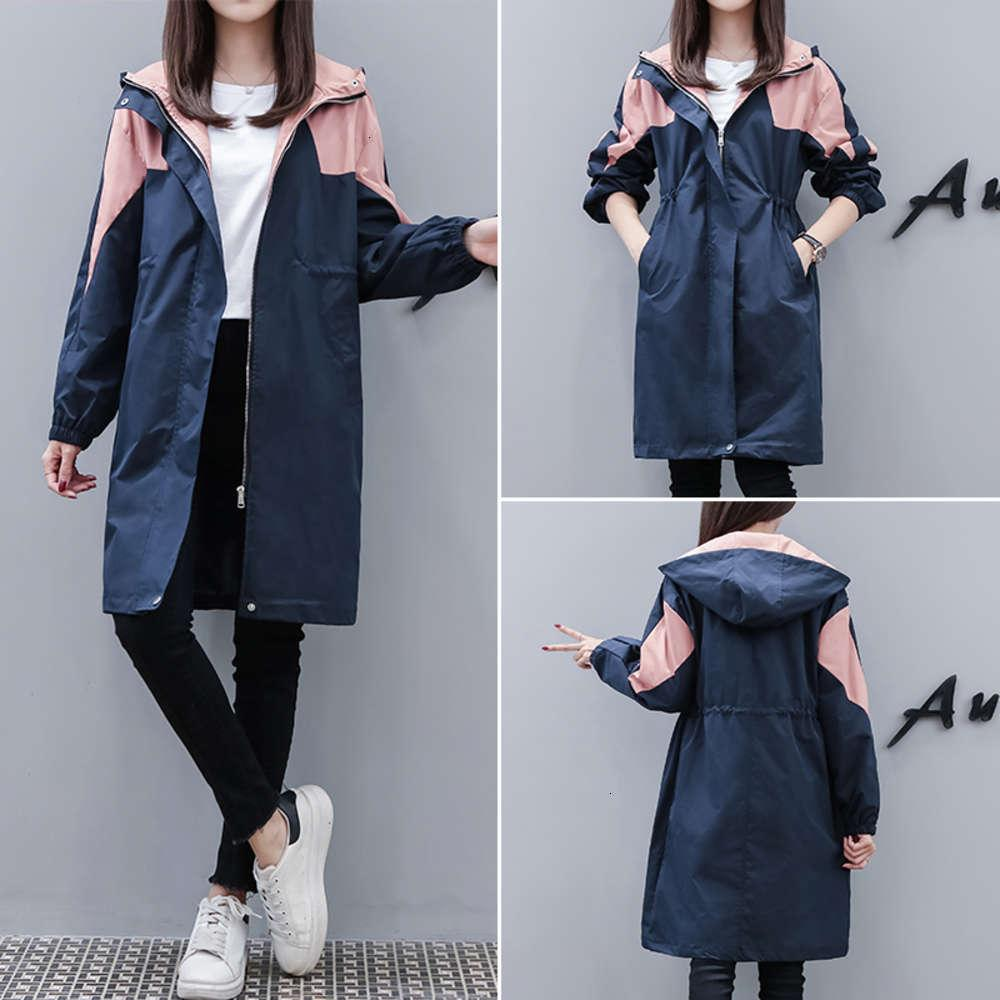 wool 2021 color matching trench coat women's middle length spring and autumn small fat mm waist hooded jacket fashion