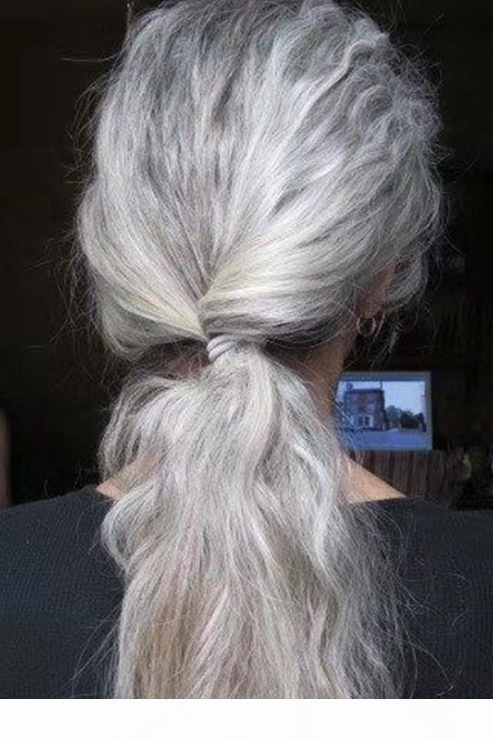 Cinzento ondulado cabelo humano rabo de cavalo de rabo de cavalo e pimenta natural cinzento extensão envolve o clipe de cordão em destaques naturais de cabelo real