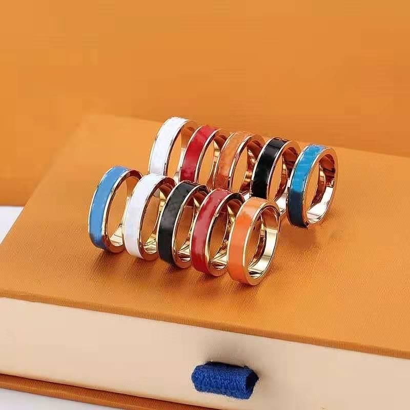 com saco designer amor anel de óleo de ouro rosa cores cores de aço inoxidável casal anéis design de moda mulheres jóias por atacado