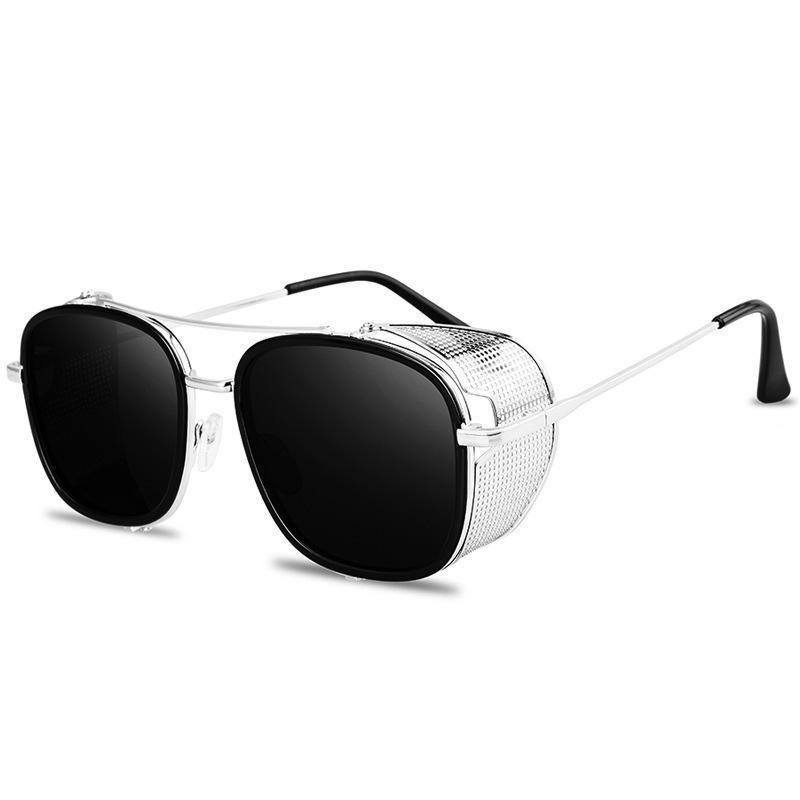 High Quality Retro Steampunk Women's Sunglasses Men's Metal Side Bag Eyeglasses Tide Punk