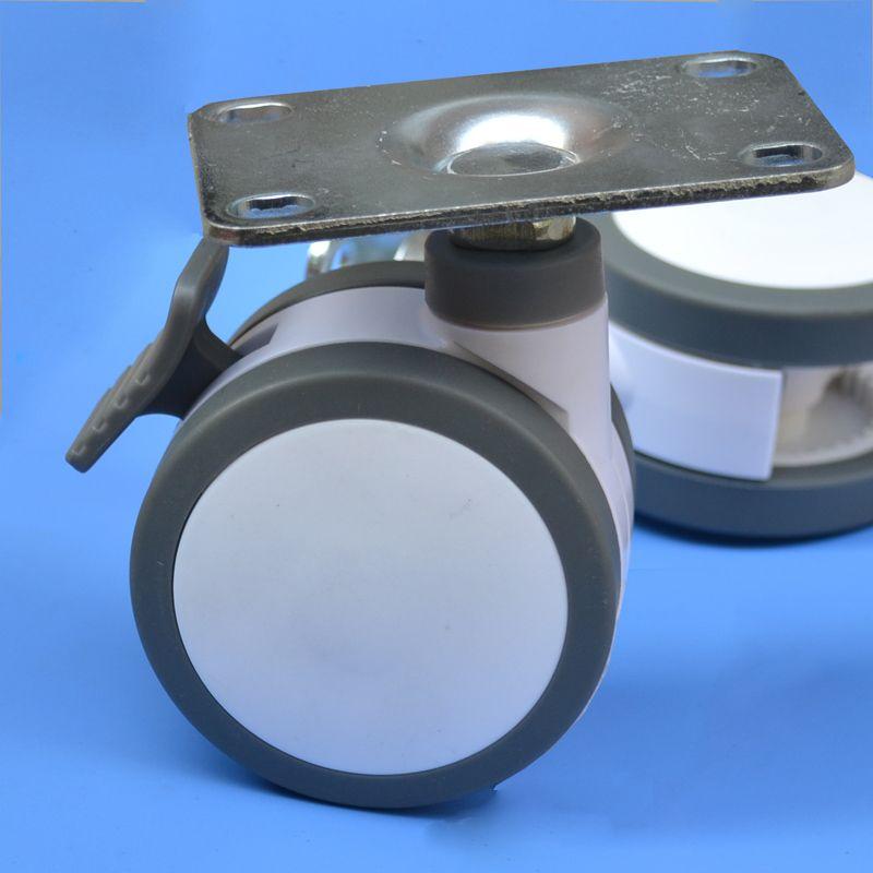 125mm 평면 가구 캐스터 의료 침대 전체 플라스틱 유니버셜 악기 의자 회전 장비 휠