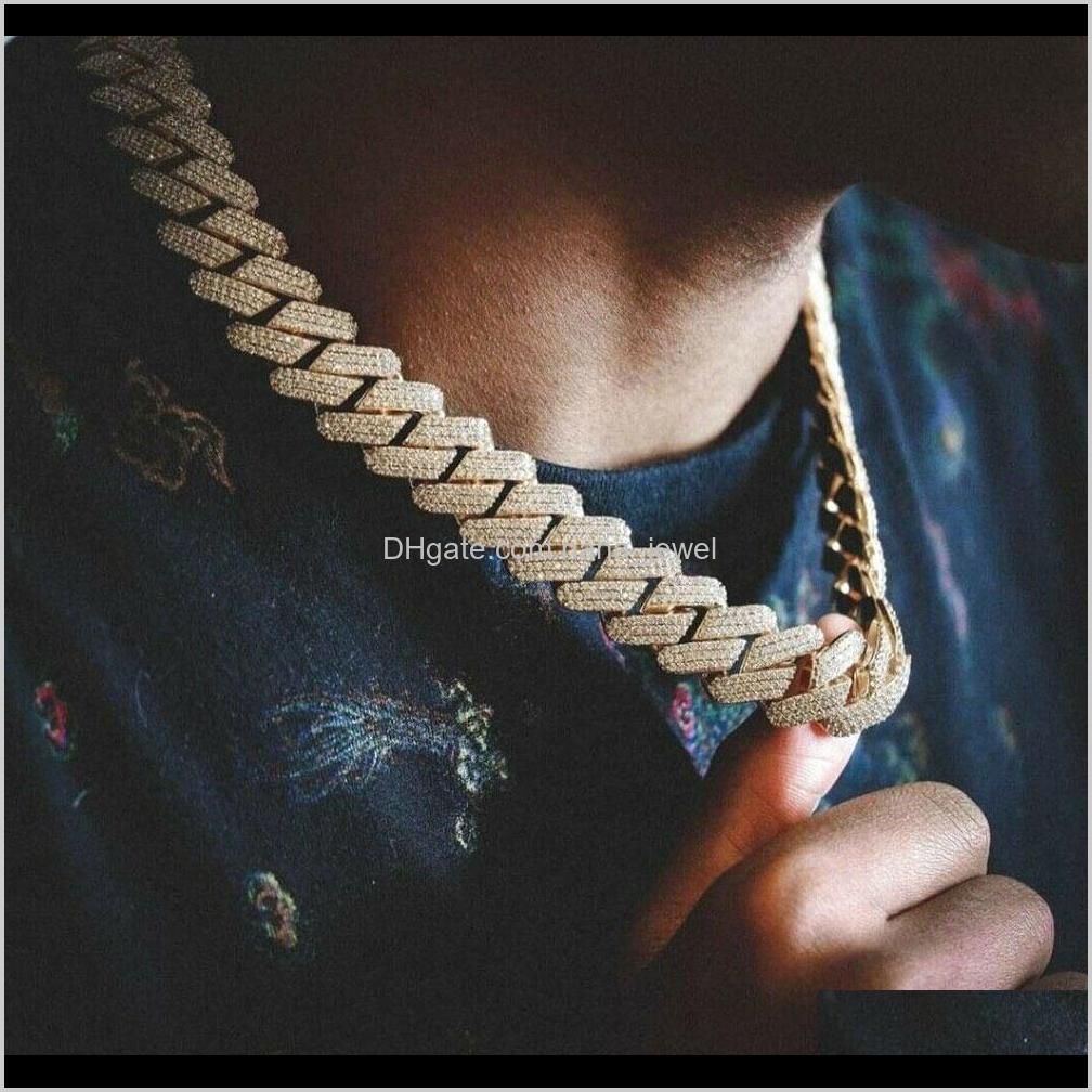 20 мм Diamond Miami Prong Cuban Link Chain Choker Ожерелье Браслеты 14K Белый Золотой Звезды Ледяной Кубический Цирконий Ювелирные Изделия 7inch-24inch Cuban SWDL4