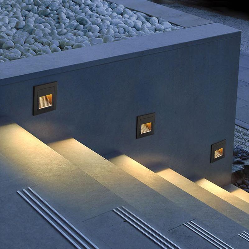 옥외 LED 계단 단계 빛 방수 오목 벽 모서리 조명 풍경 경로 계단 AC85-265V 램프
