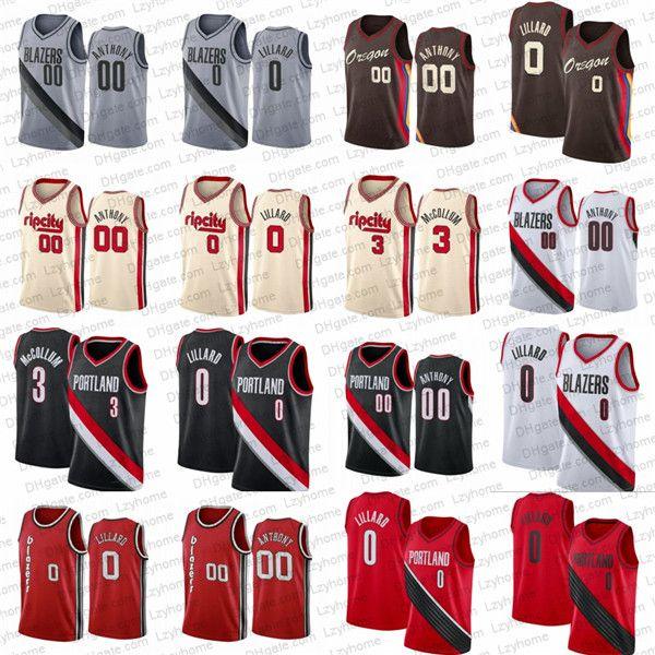 Damian 0 Lillard Carmelo 00 Anthony basket maglie da uomo CJ 3 McCollem PortlandSentieroBlazers.Camicia Black Black Jersey della città