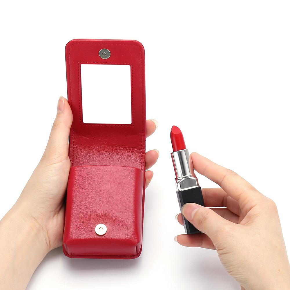 Marke Lippenstifte Brieftasche Echtes Leder Mini Brieftasche Weibliche Makeup Mirror Lipstick Case Designer Cosmetic Organizer Pouch Mode