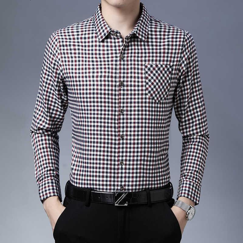 Camisa de manga longa dos homens de meia-idade Primavera nova negócio de lazer