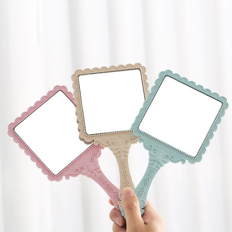 Carved Handle Mirrors Beauty Salon Hand-held Espejo Portable Romantic vintage Hand Hold Zerkalo Cosmetic Mirror Make Up Tool Dresser Gift wmq1078