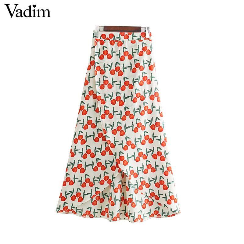 Vadim Femmes Sweet Cherry Print Jupe midi plissée Faldas Mujer Taille élastique Split Design Femelle Jupes de veau élégant Mid-mollet BA636