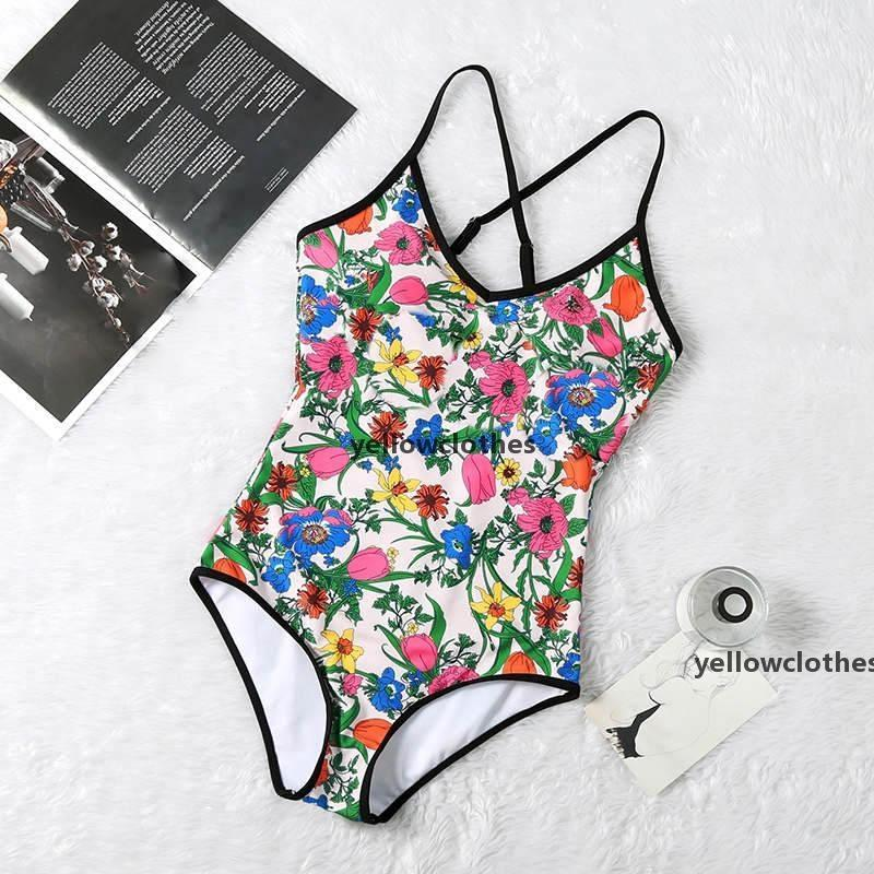 JH Luxury Floral Women Bodysuit Swimwear Sexy Padded Ladies One Piece Swimsuit Summer Beach Swim Womens Bikinis m
