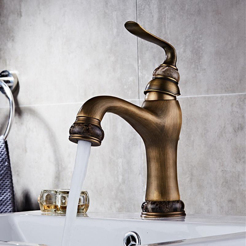 Basin Sink Faucet Antique Brass Water Mixer Tap Luxury Jade Wash Taps Bathroom Toneira Faucets
